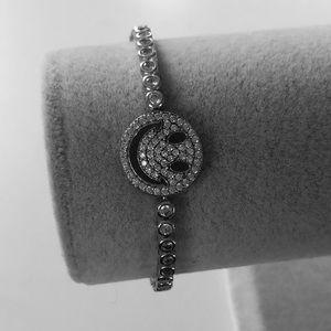 Jewelry - Silver bracelet happy face cz slider bolo lock